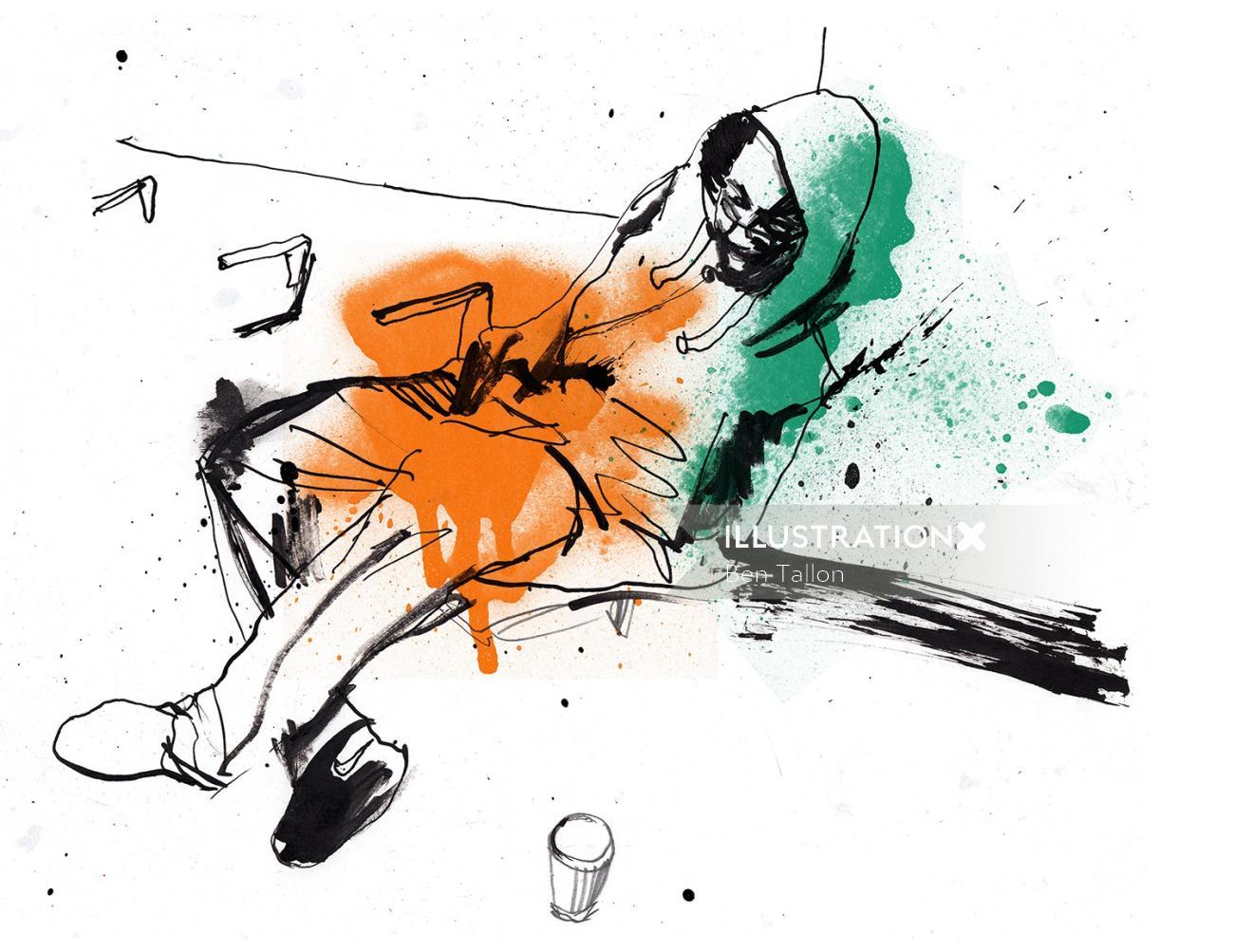 Man sleep on train platform Hand painted illustration