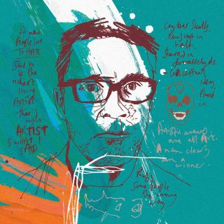 Damien Hirst hand painted portrait