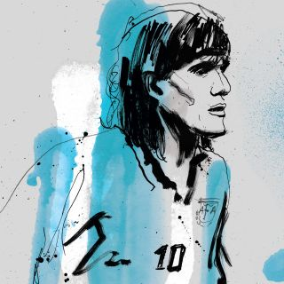 Ariel Ortega portrait by Ben Tallon