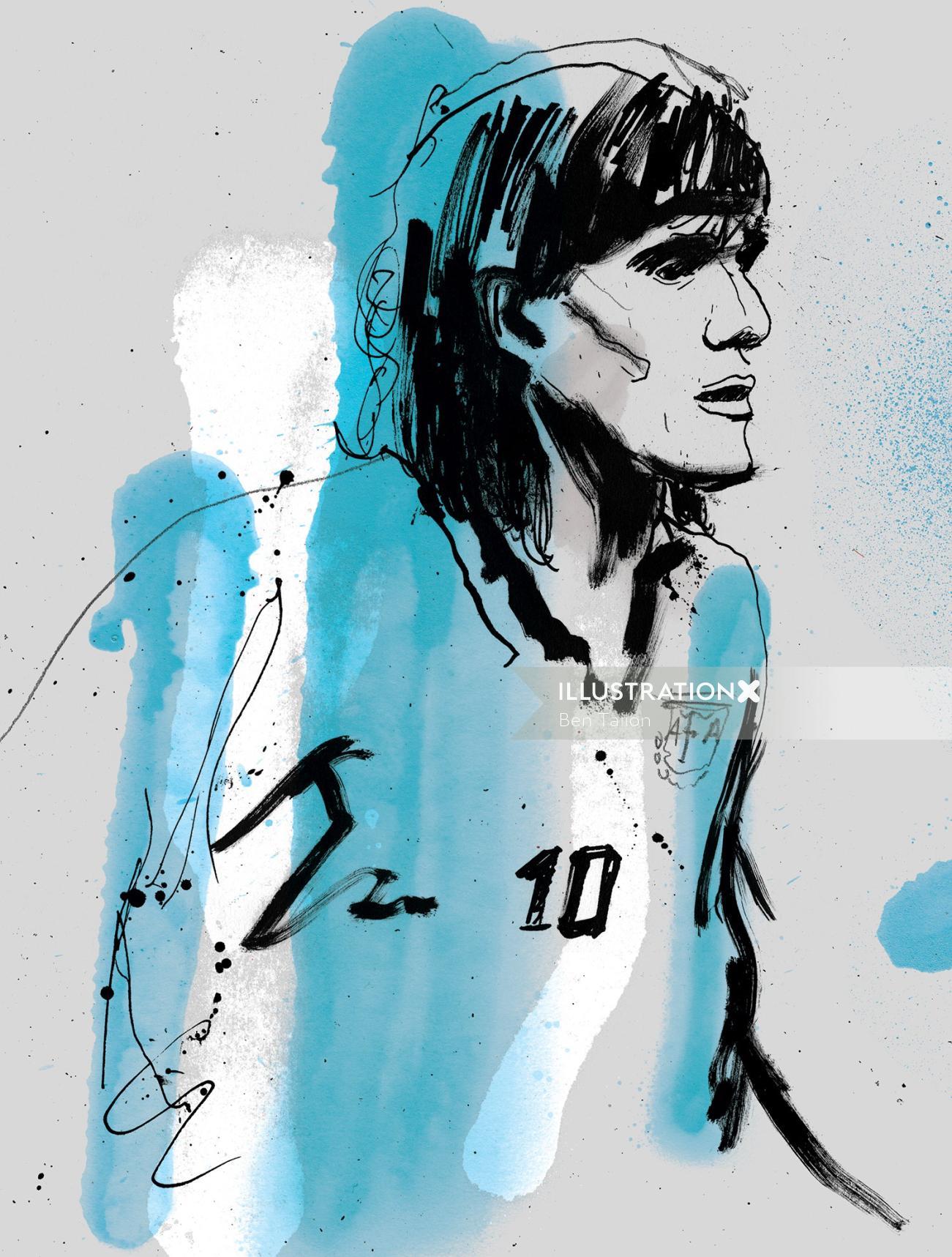 Ariel Ortega portrait by Ben Tallon