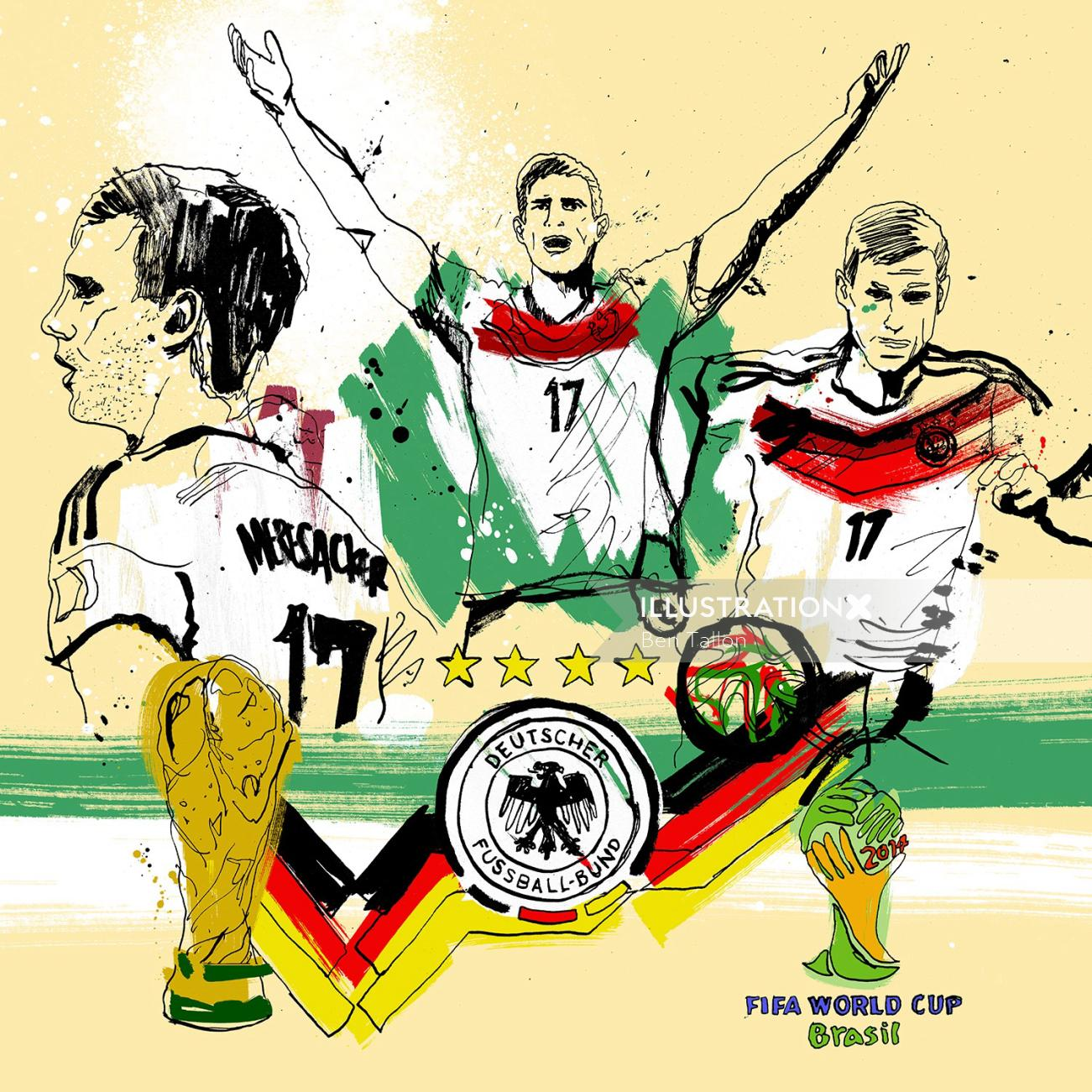 Animation artwork of Germany's world cup winning Per Mertesacker