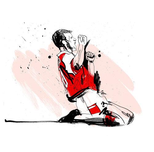 Arsenal soccer player celebrating moments