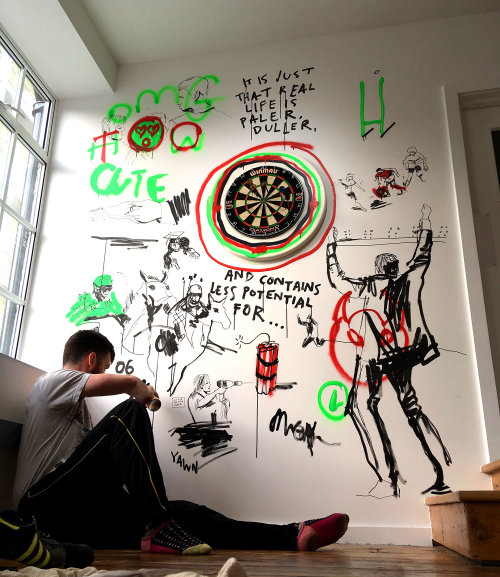 Pintura mural de parede de esportes