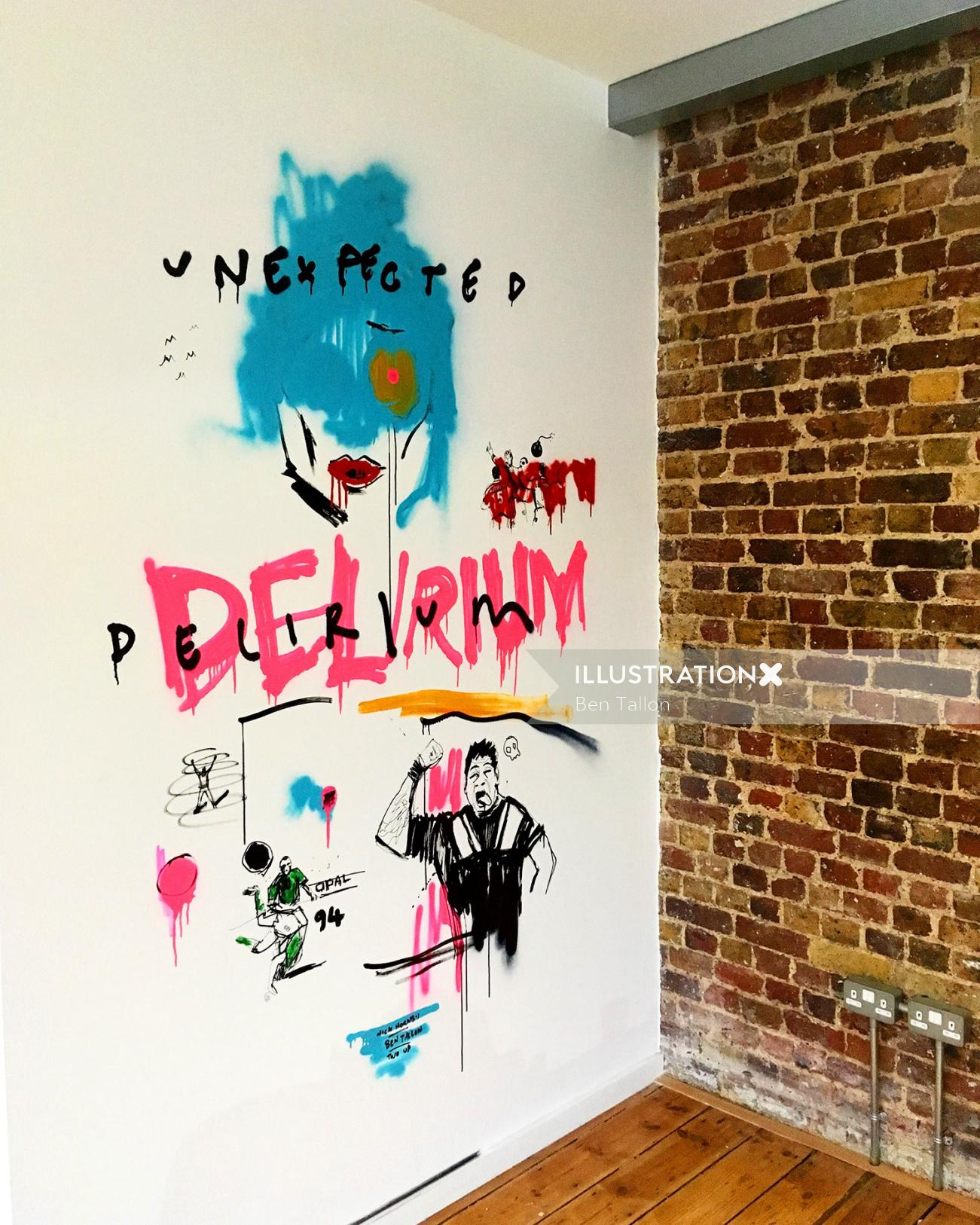 Hand lettering mural illustration