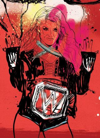 WWE women's wrestling champion Alexa Bliss portrait illustration