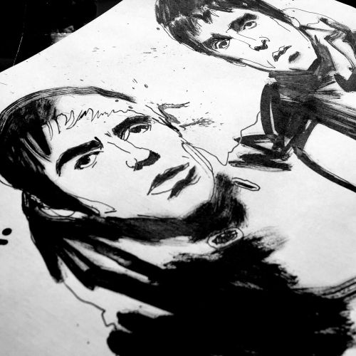 Noel and Liam Gallagher portrait illustration