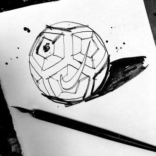 Premier League football drawing by Ben Tallon