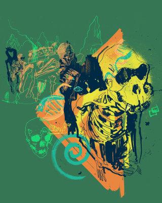 Evolution skeleton science archaeology line drawing