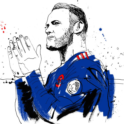 Wayne rooney portrait art by Ben Tallon