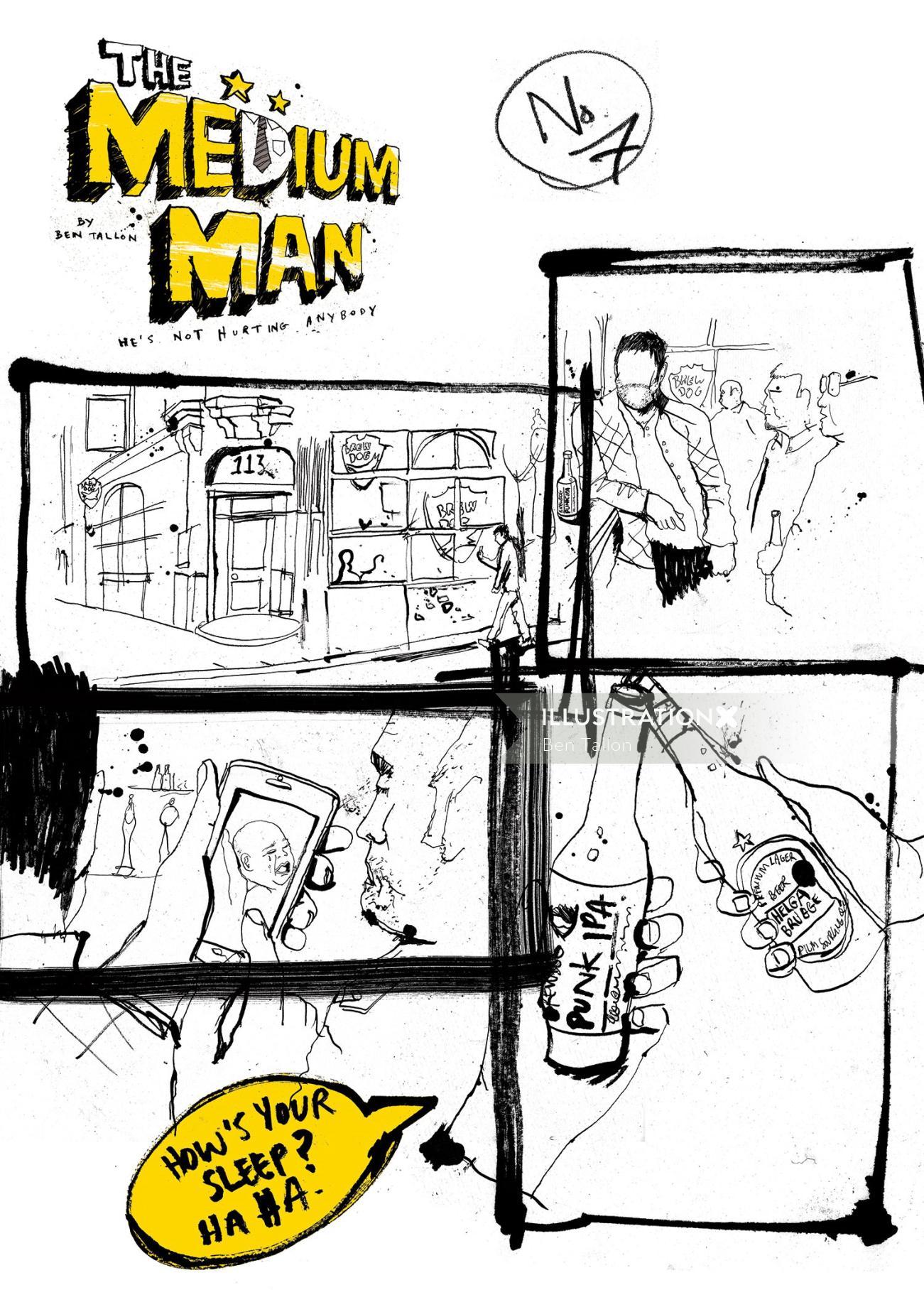 Novel illustration of medium-man