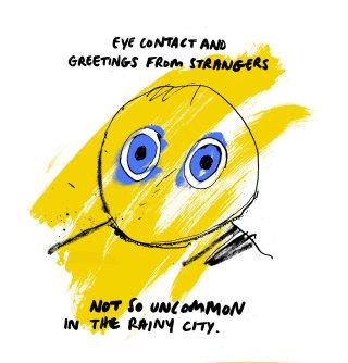Conceptual illustration of eye contact by Ben Tallon