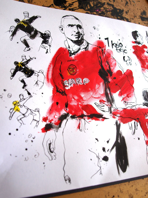 Watercolor illustration of Eric Cantona