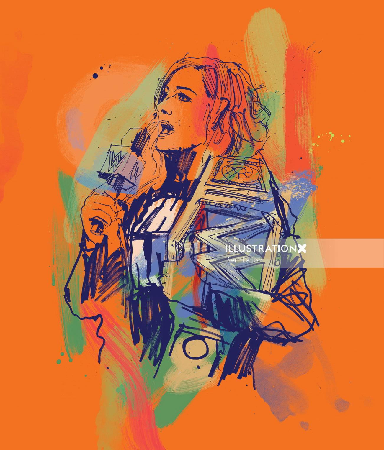WWE star Becky Lynch pen and ink drawing