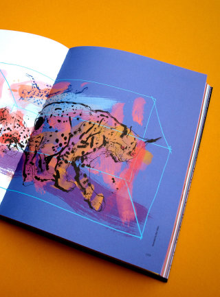Lynx watercolor illustration on book