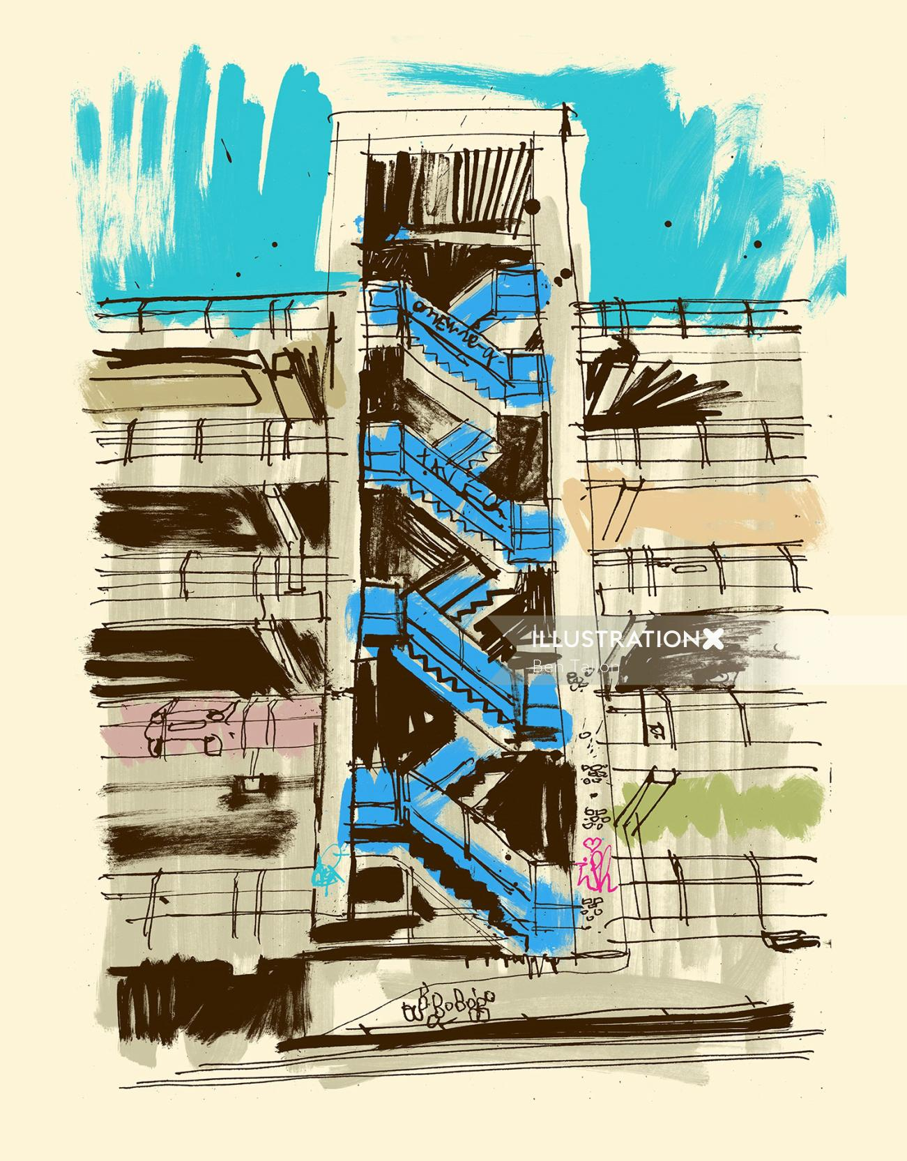 line drawing of Manchester street by Ben Tallon