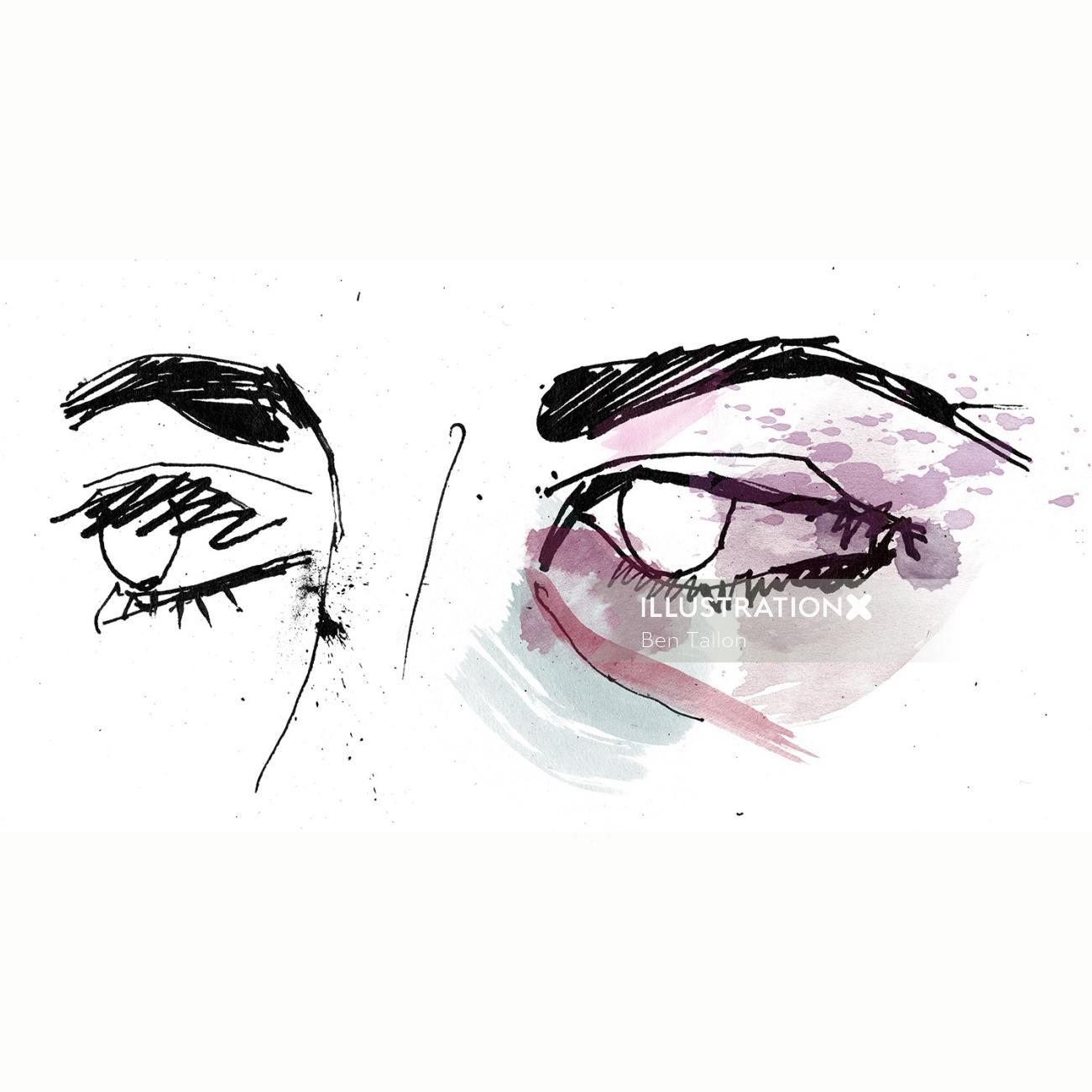 Black eyes ink drawing