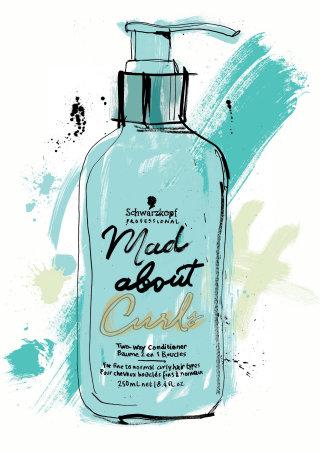 curls shampoo bottle watercolor drawing