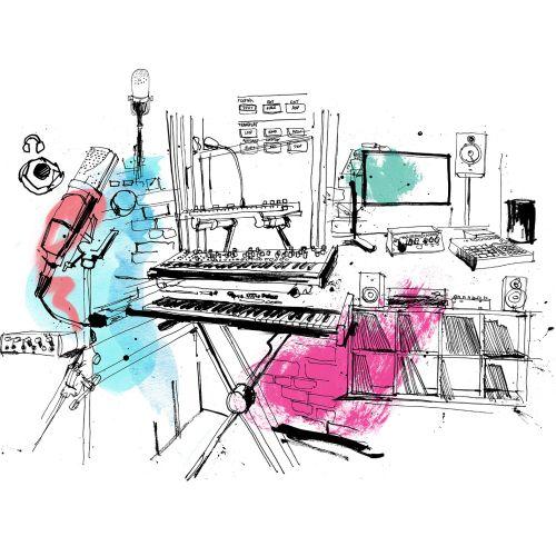 Line drawing of Otis music studio in australia