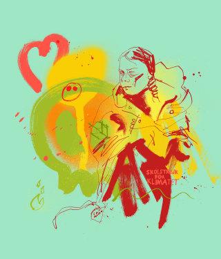 Greta Thunberg editorial illustration