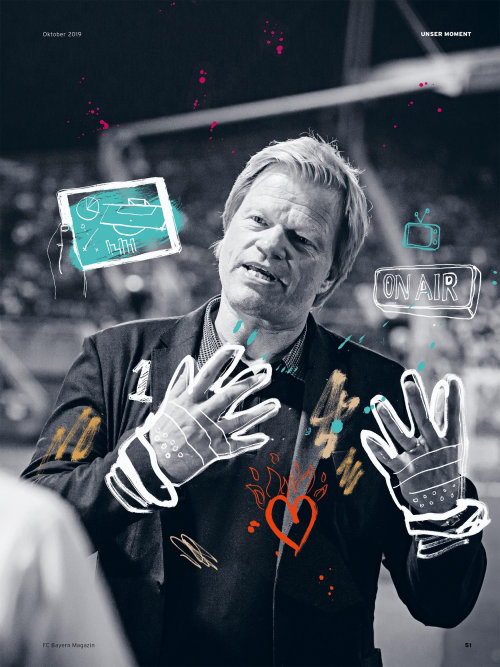 Oliver Kahn illustration for Bayern Munich's 51 Magazine