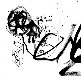 Black and white ink drawing by Ben Tallon