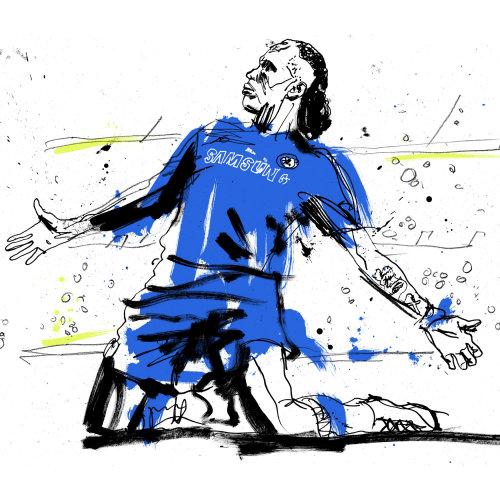 Illustration of Ivorian footballer Didier Drogba for Tv promo