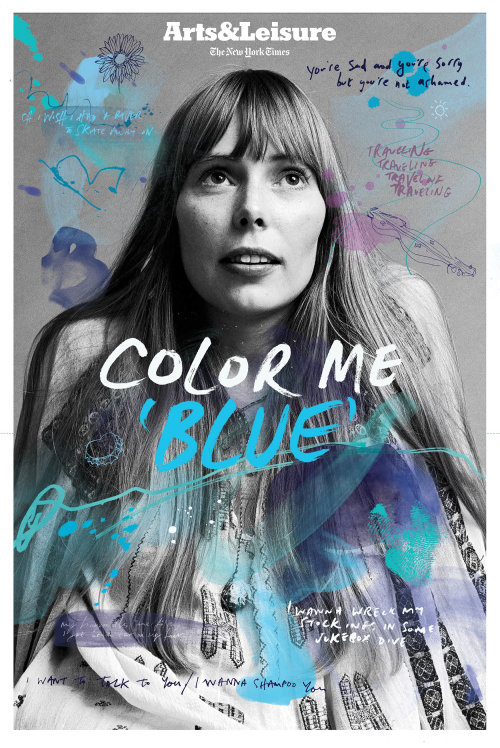 Front cover illustration for Joni Mitchell's 'Blue' album's