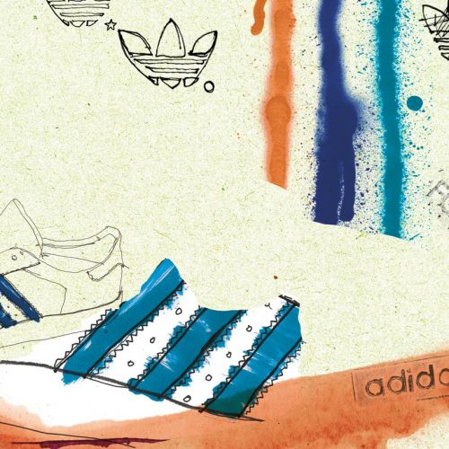 Watercolor illustration of Adidas forest hills campaign