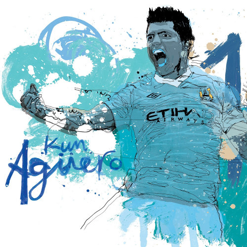 Argentina striker Kun Aguero watercolor drawing by Ben Tallon