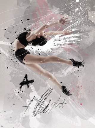 Realistic art of girl dancing