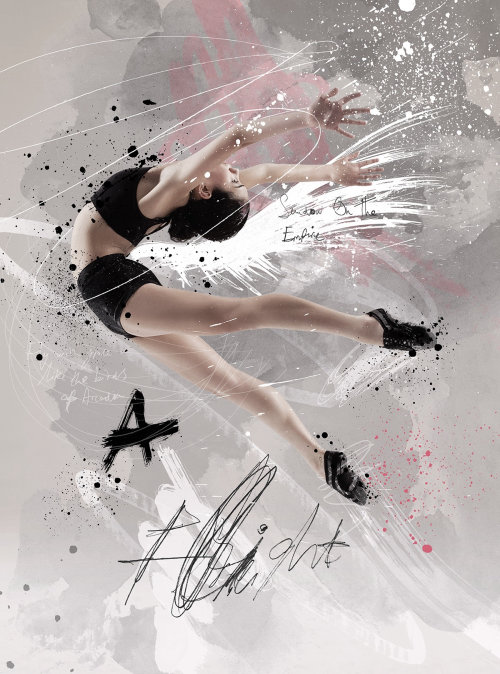 Realistic art of girl dancing