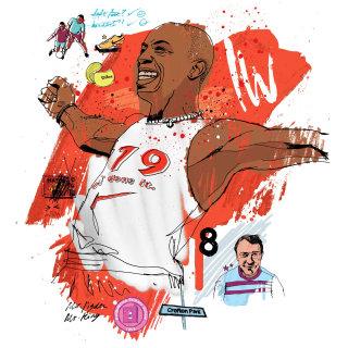 Ian Wright illustration by Ben Tallon