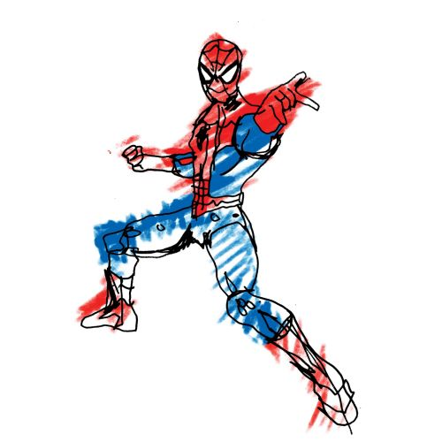 Spiderman action figure sketch by Ben Tallon