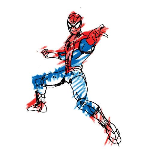 Dibujo de figura de acción de Spiderman por Ben Tallon