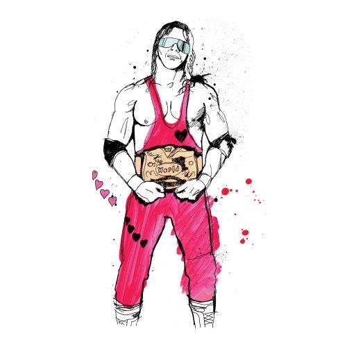 WWE Legends Bret 'Hitman' Hart watercolor painting