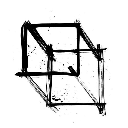 Ink box black and white illustration