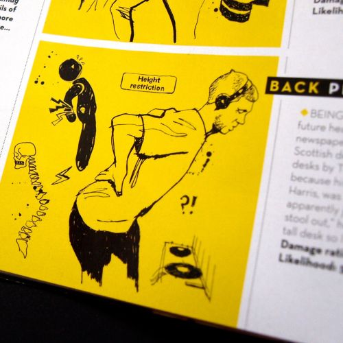 Mixmag Magazine feature illustrations on DJ Injuries