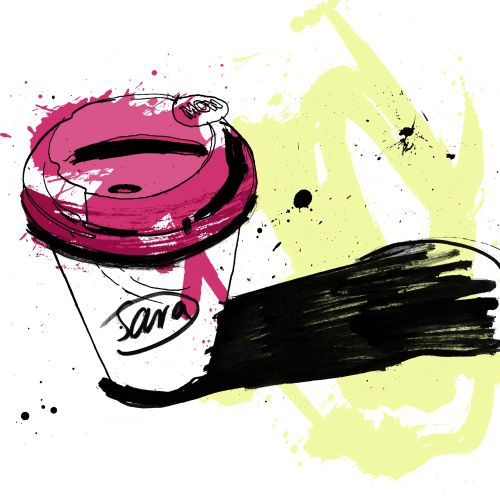 Coffee cup illustration by Ben Tallon