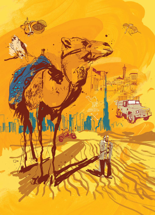 Dubai escapism magazine illustration by Ben Tallon