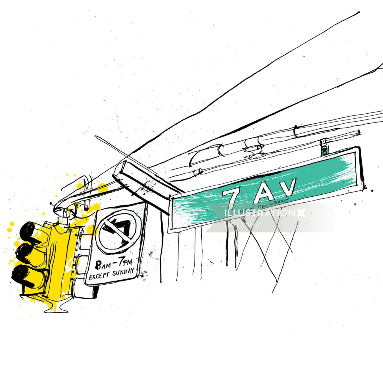 Transport drawing by Ben Tallon