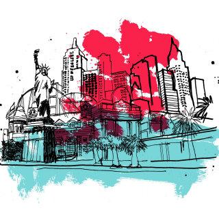 Watercolor illustration of america