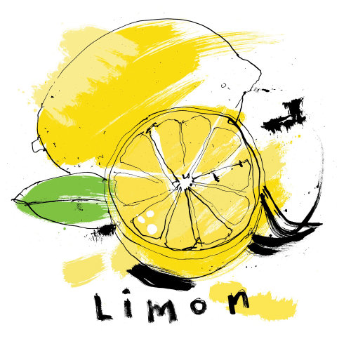Fresh lemon watercolor illustration