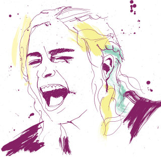Shouting woman portrait art by Ben Tallon