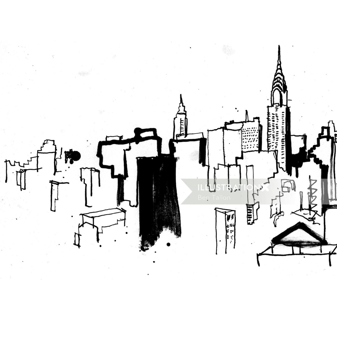 Black and white painting of city
