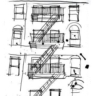 Line illustration of building