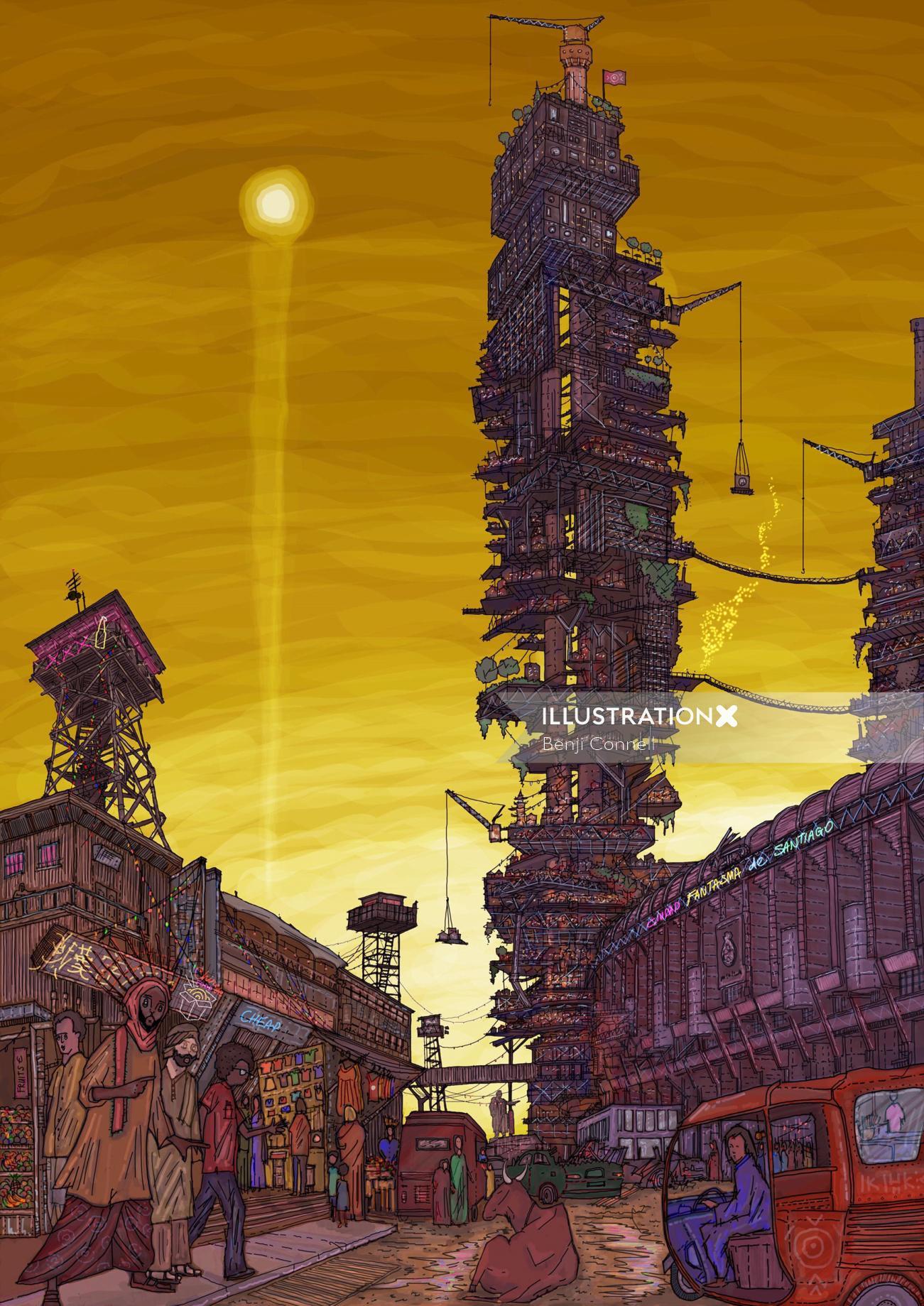 Fantasy architecture at dawn