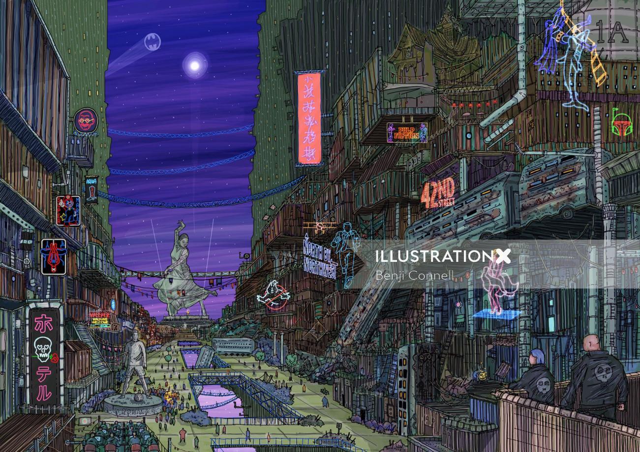 Fantasy chinese street