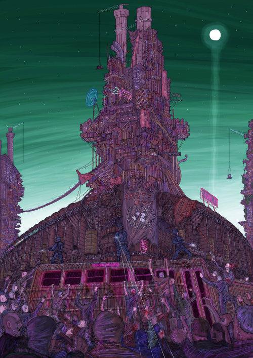 Fantasy building under moon light