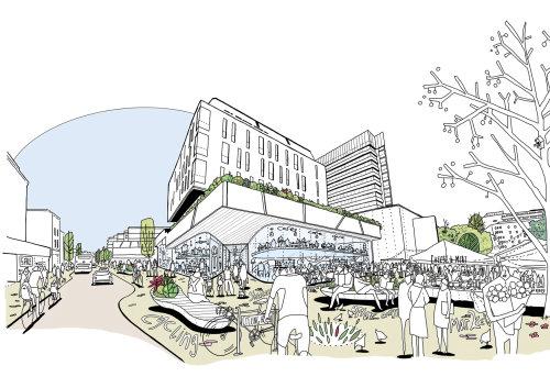 Architecture line art city makret