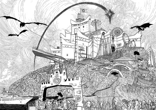 Fantasy flying dragons